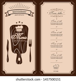 Restaurant menu template. Vector menu brochure for cafe, coffee house, restaurant, bar. Wood board cap cooking knife fork logotype symbol design
