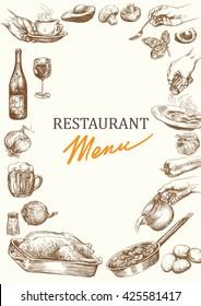Restaurant menu template. Vintage menu design. Hand drawn restaurant menu.