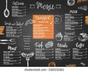 Restaurant menu templated with hand drawn food and lettering styled like a chalkboard.