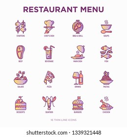 Restaurant menu thin line icons set: starters, chef dish, BBQ, soup, beef, steak, beverage, fish, salad, pizza, wine, seafood, burger. Modern vector illustration.