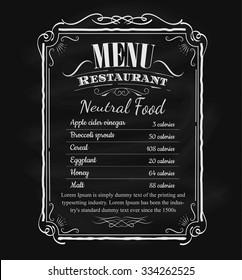 Restaurant menu vintage hand drawn blackboard frame label vector