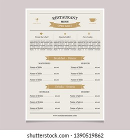Restaurant menu in vintage style. Coffee restaurant menu. Cooking design poster. Brochure template flyer design vector background. Food concept design.