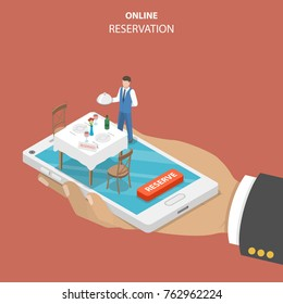 Restaurant online booking flat isometric vector concept. Hand is holding a smartphone with served table, chairs and a waiter with a dish.