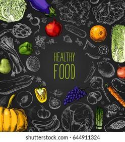 Restaurant organic natural vegan Food Menu Vintage Design with blackboard chalk style Vector set