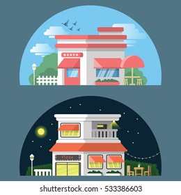 Restaurant and Pizza in day and night time with flat design