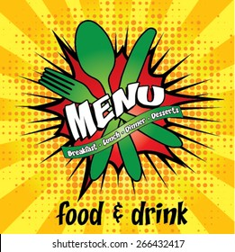 Restaurant Pop Art Menu Design - Food & Drink Vector Illustration.