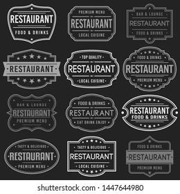 Restaurant Premium Quality Stamp. Frames. Grunge Design. Icon Art Vector. Old Style Frames.