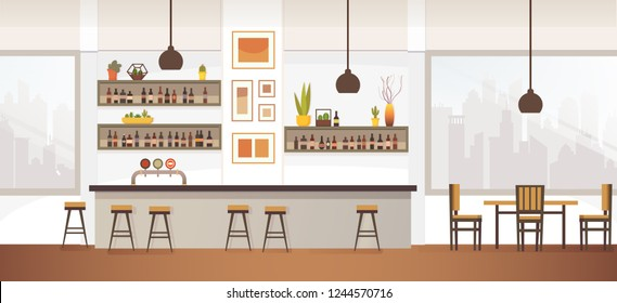 Restaurant, Pub or Cafe Bar Flat Vector Interior with Stools at Counter, Shelves with Alcohol Bottles,Photo or Drawings on Wall, Chair near Table and City Landscape Outside the Window Illustration