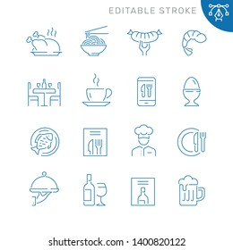 Restaurant related icons. Editable stroke. Thin vector icon set, black and white kit