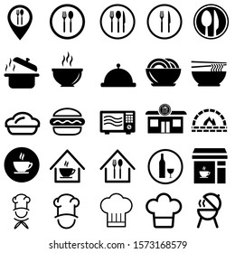 restaurant related vector icon set. cafe illustration symbol collection. chef sign, cook logo.