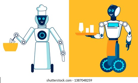 Restaurant Robotic Personnel Flat Illustration. Cartoon Chef, Cook Stirring Food in Bowl Linear Character. Cyborg on Wheels Carrying Glasses on Tray. Cyber Culinary Assistant, Helper