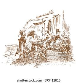 Restaurant scene Illustration - engraving