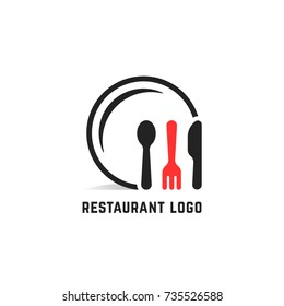 restaurant service logo isolated on white. simple flat cartoon style trend logotype graphic design element isolated on white. concept of nutrition service or serving dishes in dining room or canteen