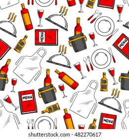 Restaurant service seamless pattern with menu book, tray with bottle and glass of wine, ice bucket with champagne, whisky, dinner plate with fork, knife and spoon, waiter apron