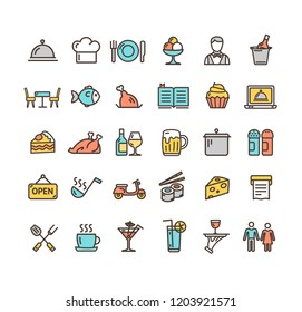 Restaurant Service Signs Color Thin Line Icon Set Include of Fish, Cocktail and Chicken. Vector illustration of Icons