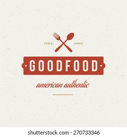 Restaurant Shop Design Element in Vintage Style for Logotype, Label, Badge and other design. Fork and spoon retro vector illustration.