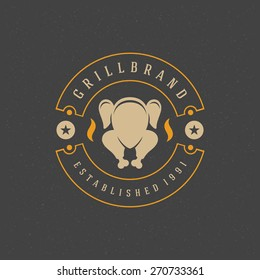 Restaurant Shop Design Element in Vintage Style for Logotype, Label, Badge and other design. Chicken grill retro vector illustration.