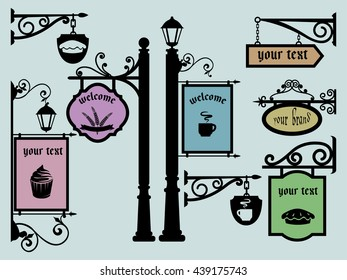 Restaurant Shop Signs Signpost Tablets Signboards Classicism Style Set Pole Lamp Post Advertising