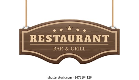 Restaurant signboard. Bar and grill. Curly wooden signboard hanging on the ropes. Vector illustration isolated on white
