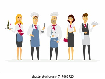 Restaurant staff - cartoon people characters isolated illustration on white background. A group of standing cafe workers: chef, cook, waiter and manager, hostess. Catering professionals in uniforms