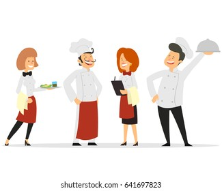 Restaurant staff characters design. Include chef, assistants, manager , waitress . Professionals team. vector illustration