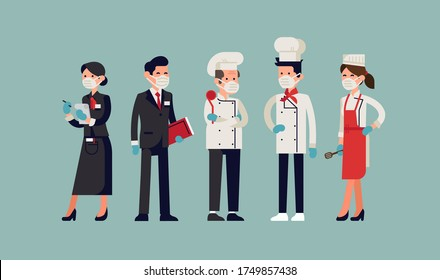 Restaurant staff ready to receive their clients complying with new sanitary and public safety norms, wearing individual protective masks and gloves. Food industry relaunch after coronavirus lockdown