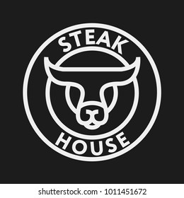 Restaurant Steak House Burger Logo Template. Cow Bull Beef Meat Concept.