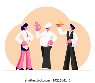Restaurant Stuff. Administrator Girl with Notebook, Chief in Toque, Man Waiter Holding Tray with Dish Under Silver Cloche Lid, Male and Female Characters in Uniform. Cartoon Flat Vector Illustration