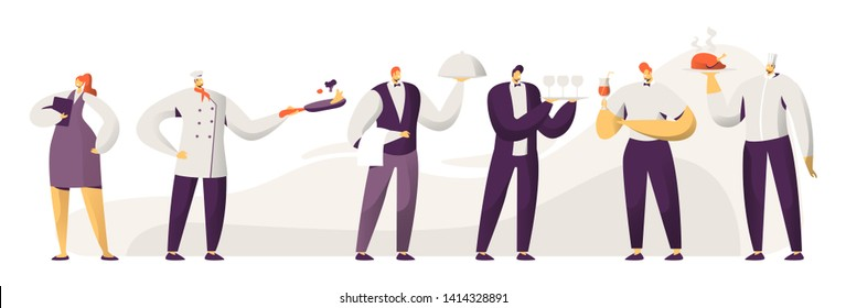 Restaurant Stuff. Male and Female Characters in Uniform. Administrator Girl with Notebook, Chief in Toque, Men Waiters Holding Tray with Dish Under Silver Cloche Lid Cartoon Flat Vector Illustration