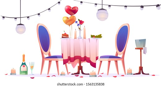 Restaurant table after romantic dating isolated on white background. Unfinished champagne in glasses, extinguished candles, heart shaped balloons, rose flower petals around Cartoon vector illustration