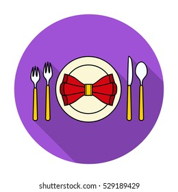 Restaurant table flatting icon in flat style isolated on white background. Restaurant symbol stock vector illustration.