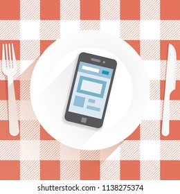 Restaurant table with knife and fork and plate with mobile phone with social networking internet web page on screen. Idea - unusual concept of modern internet communication, virtual life, online chats