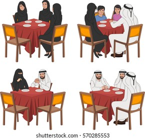 Restaurant tables with muslim people wearing traditional clothes