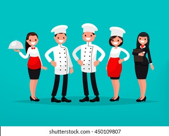 Restaurant team. Chef, cook, manager, waiter. Vector illustration of a flat design