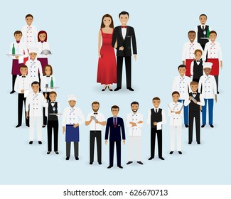 Restaurant team. Group of manager, chef, waiters, waitresses, cook, bartenders and couple of visitors standing together. Food service staff website banner. Vector illustration