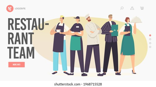Restaurant Team Landing Page Template. Characters in Uniform Demonstrating Menu. Cafe or Cafeteria Staff Hospitality, Men and Women Waiters, Chef and Administrator. Cartoon People Vector Illustration