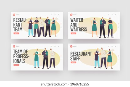 Restaurant Team Landing Page Template Set. Characters in Uniform Demonstrating Menu. Cafeteria Staff Hospitality, Men and Women Waiters, Chef and Administrator. Cartoon People Vector Illustration