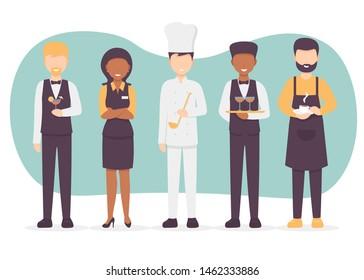 Restaurant team set. Chef cook, manager, waiter, bartender, barista characters. Catering professionals team personages. Flat vector illustration modern design.