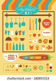 restaurant theme illustration template set