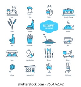 Restaurant thin line icons set. Icons for fast food, drinks, cooking, transportation, food delivery. Employees of restaurant business: baker, cook, waiter, chief-cooker Illustration editable stroke