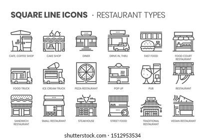 Restaurant types related, square line vector icon set for applications and website development. The icon set is pixelperfect with 64x64 grid. Crafted with precision and eye for quality.
