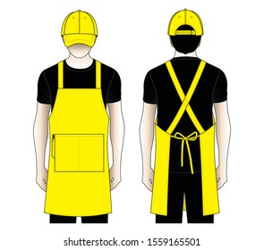 Restaurant Uniforms Design Vector (Yellow Apron and Baseball Cap). : Front and Back View