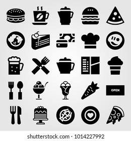 Restaurant vector icon set. check, pizza, payment and ice cream