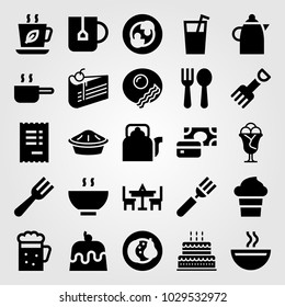 Restaurant vector icon set. pie, fork, pan and kettle