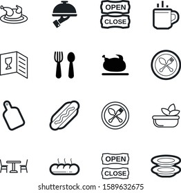 restaurant vector icon set such as: loaf, coffee, lettuce, wooden, equipment, hand, cutting, parasol, health, sausage, bowl, stack, cover, plates, pile, thanksgiving, wood, toast, image, grill, cup