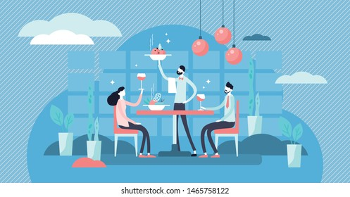 Restaurant vector illustration. Flat tiny food eating scene persons concept. Luxury supper and dinner evening with french or italian eatery. Cuisine cafeteria customers with gourmet dish and drinks.