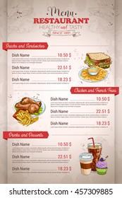 Restaurant vertical color menu