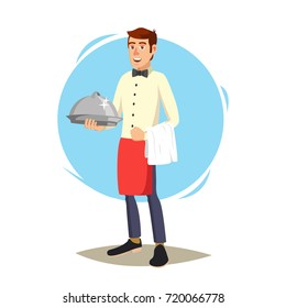Restaurant Waiter Vector. Classic Waiter Takes The Order. Isolated Flat Cartoon Character Illustration