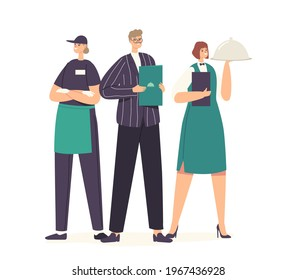Restaurant Workers Team Posing. Male Administrator with Menu in Hands, Waitress Holding Tray with Dish under Cloche Lid, Hospitality Staff Characters in Uniform. Cartoon People Vector Illustration