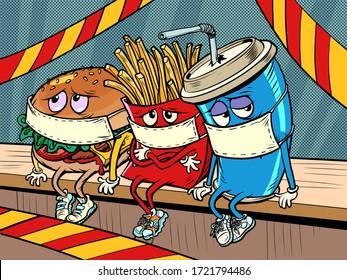 restaurants are closed for a coronavirus epidemic quarantine.. sad fast food characters fries Cola Burger. Comics caricature pop art retro illustration drawing